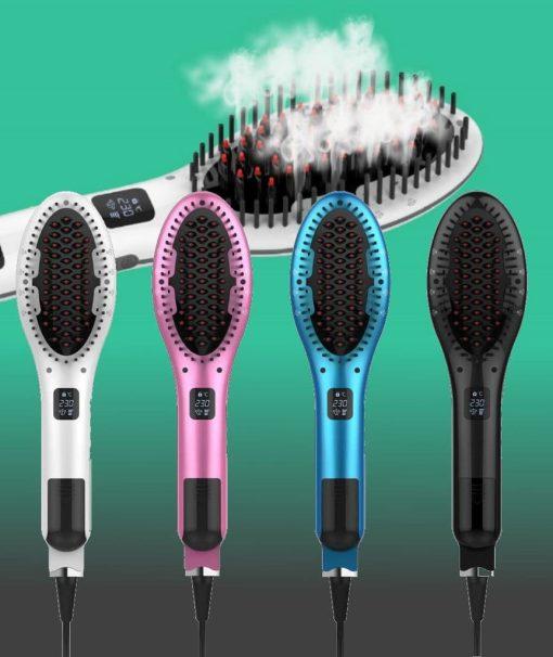 Steam hair straightener brush