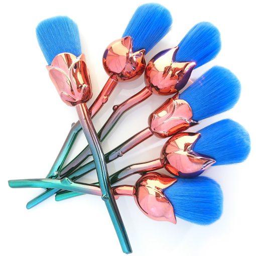 Blomma sminkborstar blå rosor