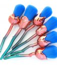 Flower makeup brushes blue roses